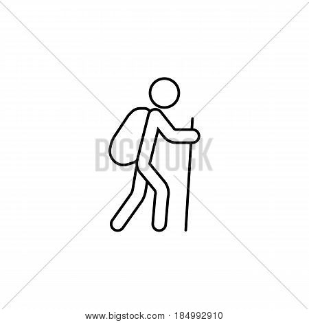Tourist backpacker line icon, travel tourism, man with backpack and hiking, a linear pattern on a white background, eps 10.
