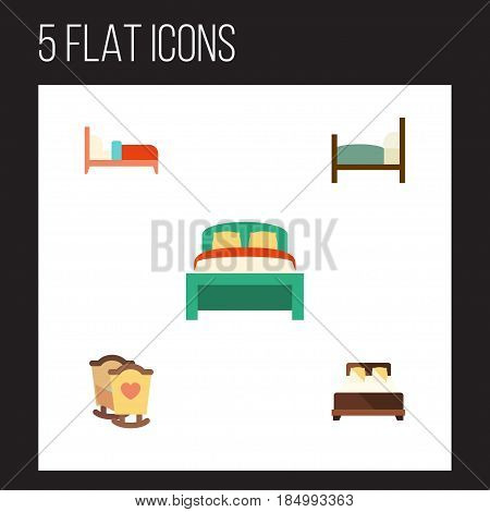 Flat Bed Set Of Bed, Furniture, Crib And Other Vector Objects. Also Includes Crib, Bedding, Furniture Elements.
