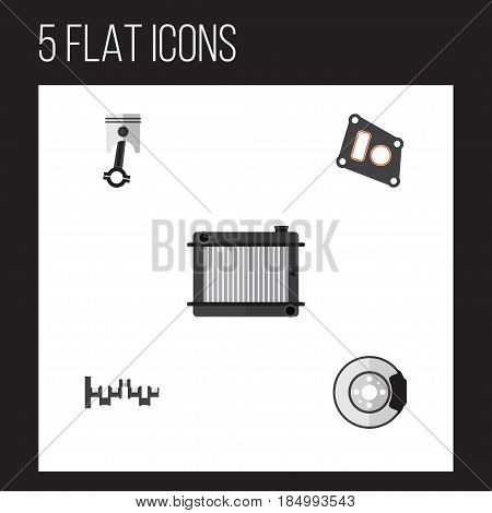 Flat Parts Set Of Steels Shafts, Metal, Gasket And Other Vector Objects. Also Includes Gasket, Steel, Disk Elements.