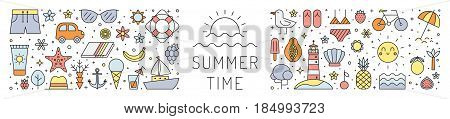 Summer time horizontal illustration. Clean and simple outline design.