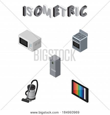 Isometric Appliance Set Of Stove, Vac, Microwave And Other Vector Objects. Also Includes Tv, Refrigerator, Device Elements.