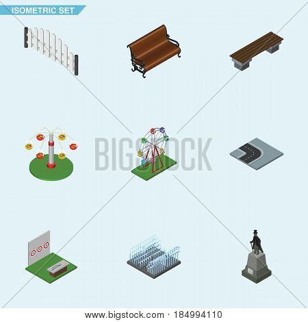Isometric City Set Of Aiming Game, Bench, Swing Attraction And Other Vector Objects. Also Includes Archery, Ferris, Statue Elements.