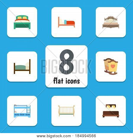 Flat Bed Set Of Bedroom, Furniture, Mattress And Other Vector Objects. Also Includes Bunk, Bedding, Cot Elements.