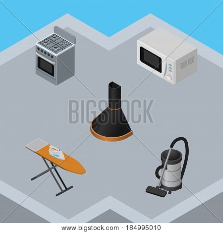 Isometric Technology Set Of Vac, Air Extractor, Cloth Iron And Other Vector Objects. Also Includes Hood, Kitchen, Extractor Elements.