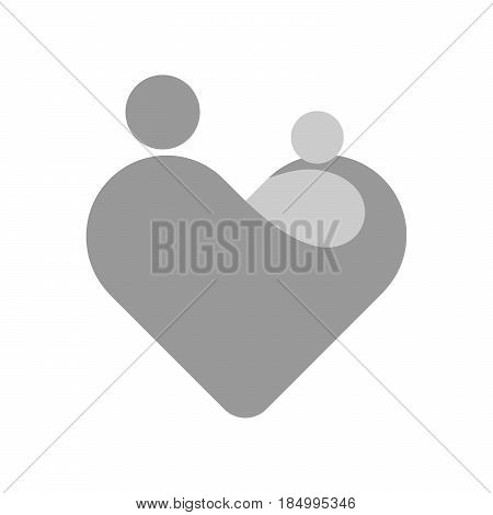 Mother with her child in her hands. Simplified symbol in a shape of heart. Motherhood or Mothers Day theme. Grey vector illustration.