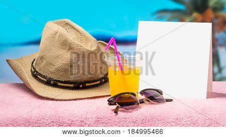 Tropical holiday promotion banner template with nice summer and spring feeling. Paradise campaign background for hot offers, sales and advertising. White blank card with free empty copy space.