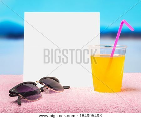 Spring sale offer template for promotion in web, social media of website. White blank square card for content and copy space. Hot summer feeling with sunglasses and yellow cocktail with pink straw.