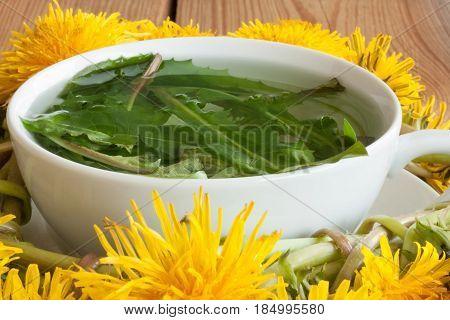 Dandelion Tea - Hot Water Poured Over Fresh Dandelion Leaves