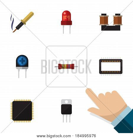 Flat Device Set Of Cpu, Transducer, Resistance And Other Vector Objects. Also Includes Transistor, Unit, Resistor Elements.