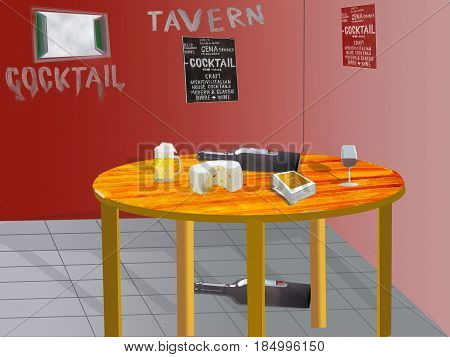 illustration of the interior of a tavern with a table with beer wine and cheese