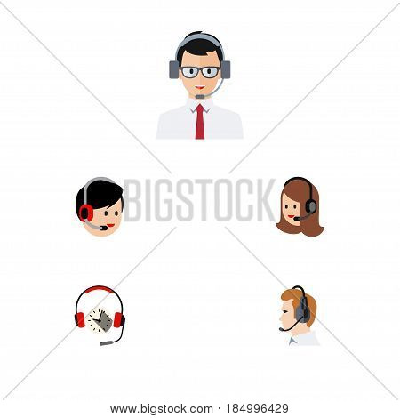 Flat Hotline Set Of Service, Headphone, Telemarketing And Other Vector Objects. Also Includes Support, Online, Earphone Elements.