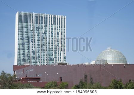 modern architecture and buildings in Rome with skyscraper of the Eur district
