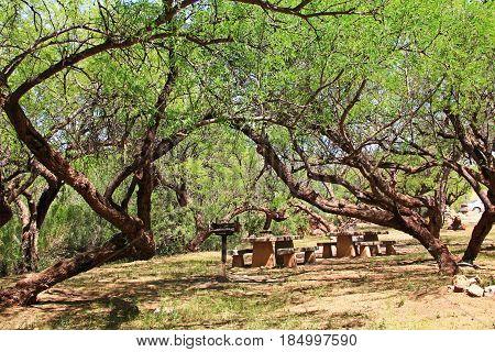 El Bosquecito picnic area in Colossal Cave Mountain Park in Vail, Arizona, USA near Tucson.