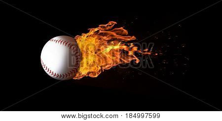 Flying Baseball Engulfed In Flames