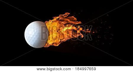 Flying Golf Ball Engulfed In Flames