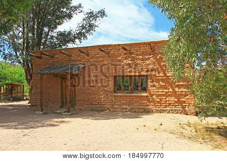 Historic building with copy space housing the CCC Museum on La Posta Quemada Ranch in Colossal Cave Mountain Park in Vail, Arizona, USA near Tucson.