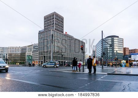BERLIN, GERMANY- December 24, 2016 : Typical Street view in Berlin, Germany. Berlin is the capital of Germany. With a population of approximately 3.5 million people.BERLIN, GERMAN