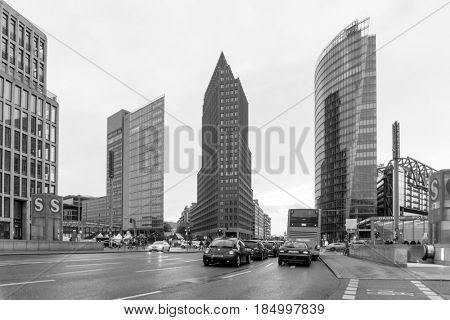 BERLIN, GERMANY- December 24, 2016: Potsdamer Platz is an important public square and traffic intersection in the centre of Berlin. December 24, 2016. BERLIN, Germany.