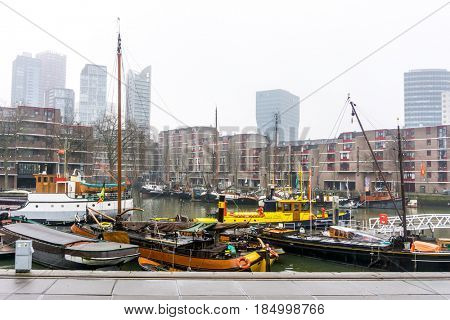 ROTTERDAM, Netherlands - February 7, 2017 : Street view of Port of Rotterdam, the nickname