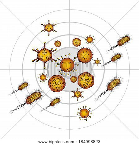 Influenza viruses and E coli Bacteria. Color vector illustration. Isolated on white background