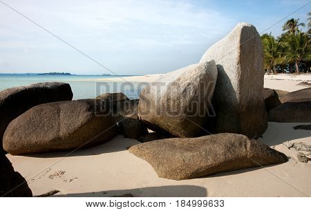 Natural Rock Formation On White Sand Beach At The Coast In Belitung Island In The Morning Indonesia.