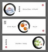 Three banners with mountains, date plum fruits and bamboo trees. Traditional oriental painting sumi-e, u-sin, go-hua. Contains hieroglyphs - peace, tranqility, clarity, happiness, dreams come true. poster