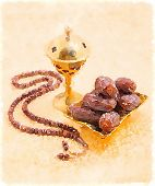 An oudh burner, prayer beads and dates, A hand painted classic water color illustration. poster