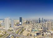 Panoramic Shot Of Tel Aviv and Ramat Gan Skyline At Day.  Tel Aviv Cityscape Aerial View poster