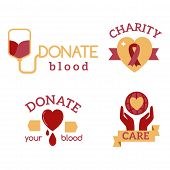 Volunteer red icons charity donation vector set humanitarian awareness hand hope aid support and assistance care service human symbols. Trust social rescue helping ribbon. poster