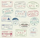 Visa passport stamp symbol set. International travel visa stamp of Italy, Germany, USA, Brazil and Colombia. Tourism, visa application, arrival document, vacation journey planning and traveling design poster