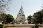 Wat Phra That Si Song Rak temple architecture is in the Lan Chang style for people visit and praying Chedi and buddha at Dan Sai on February 22 2017 in Loei Thailand poster