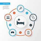 Antibiotic Icons Set. Collection Of Database, Stand, Device Elements. Also Includes Symbols Such As Polyclinic, Data, Database. poster