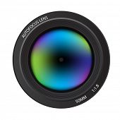 Illustration of a colorful dslr camera lens, front view poster
