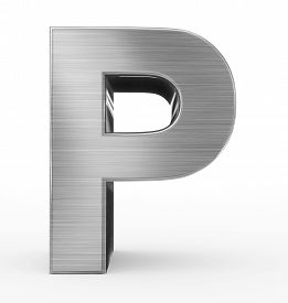 Letter P 3D Metal Isolated On White