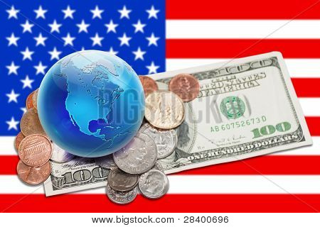 World Currency - Globe With Money Over Usa Banner