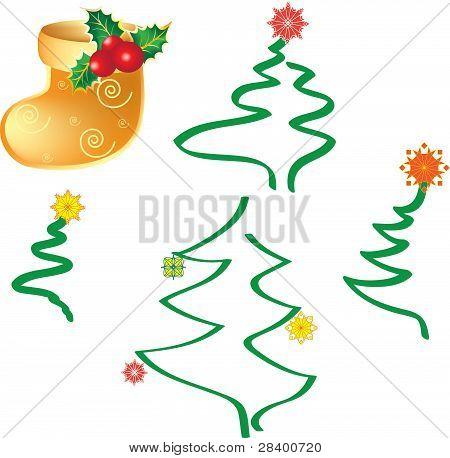 Christmas trees and christmas sock, vector