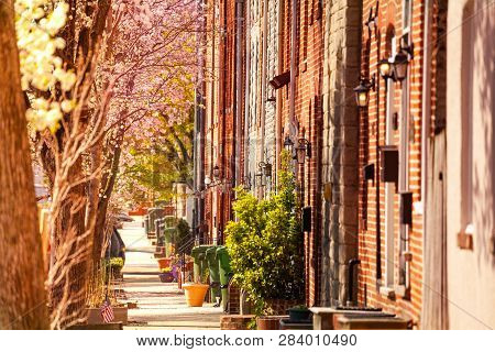 Baltimore Streets With Brick Houses In Spring, Usa