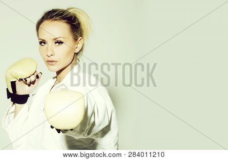 Pretty Girl Or Sexy Woman, Boxer, Fighter, Athlete Wearing Boxing Gloves And Sexi White Shirt With B