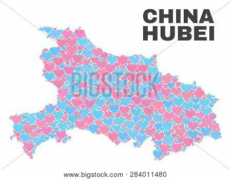 Mosaic Hubei Province Map Of Lovely Hearts In Pink And Blue Colors Isolated On A White Background. L