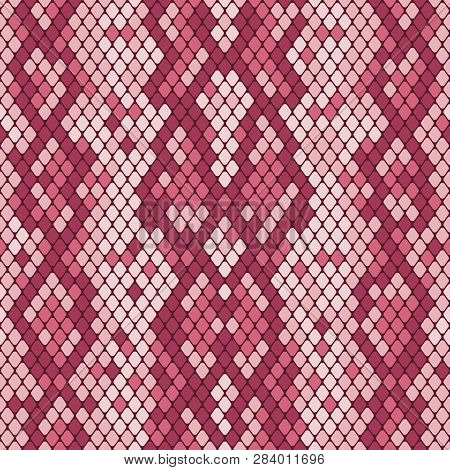 Snakeskin Seamless Pattern. Realistic Texture Of Snake Or Another Reptile Skin. Beige And Brown Colo