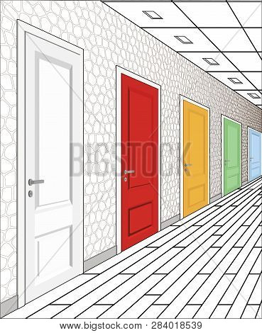Interior Of Multi-colored Doors On A White Background. Illustration Of A Long Corridor. Concept Of I