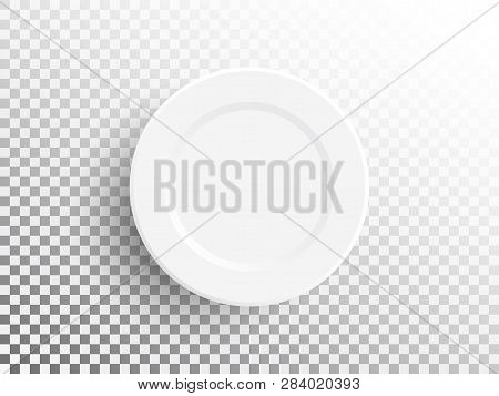 White Plate Isolated On Transparent Background. Realistic Empty Plate. Empty Dish For Food. Restaura