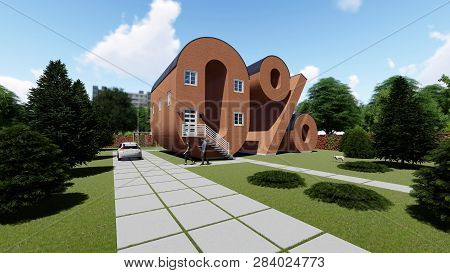 Zero Percent Shaped House With Garden, 3d Rendering