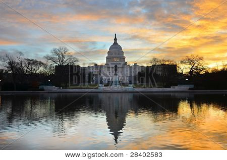 Washington DC,  United States Capitol Building with mirror reflection in sunrise