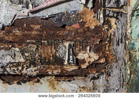 Layers Of Different Colors On Rusty Metal, Metal Corroded Texture, Rusty Metal Background