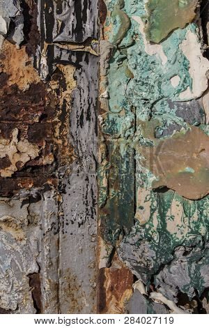 Several Layers Of Different Colors On Rusty Metal, Metal Corroded Texture, Rusty Metal Background
