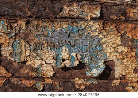 White And Blue Paint On Rusty Metal, Metal Corroded Texture, Rusty Metal Background