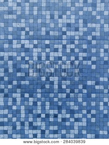 Abstract Blue Square Mosaic Background Or Texture