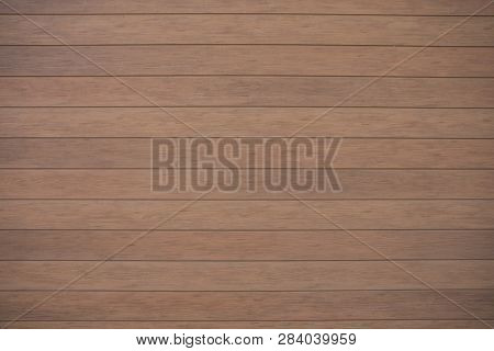 Bown Wooden Wall With Horizontal Planks. Close Up Of An Old Wooden Fence Panels