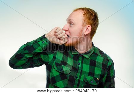Red Haired Man Bite His Fist, Hand. Shocked, Caucasian Male Teenager. Surprised Redhead Guy Scream.